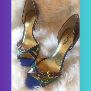 Charles David Multi Color Strappy Open Toe Heels